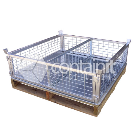 high easy store pallet cage - with sheet floor & divider