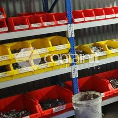 Stackable Plastic Parts Bins in use