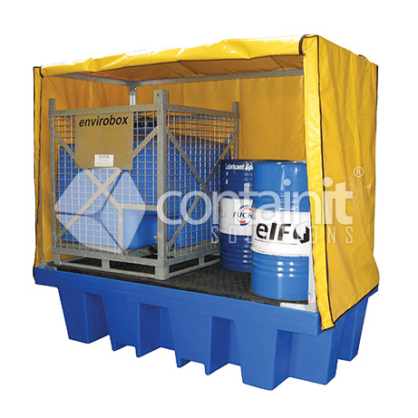 Poly 2 x 1000L IBC Bund with Weathcover