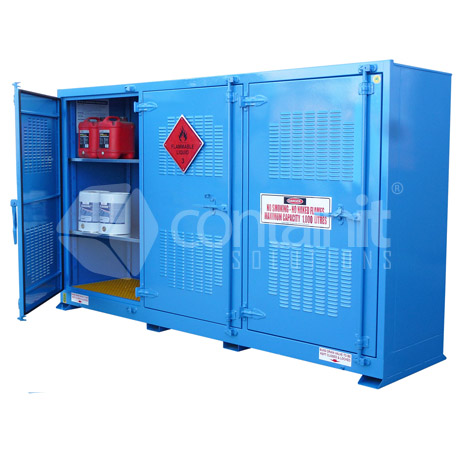 outdoor dangerous goods storage for class 8 substances