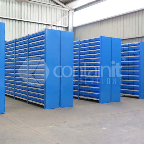 Warehouse Fitout of Easy Rack Shelving with Parts Buckets