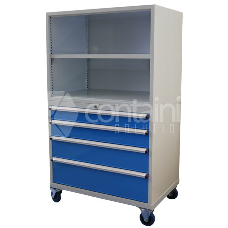 CHD-1750-4C-S (Storeman 4 Drawer Open Top Tool & Parts Trolley)