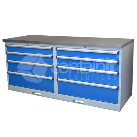 CHD-24DST (2 x 4 Drawer Cabinet Workstation with Stainless Worktop)