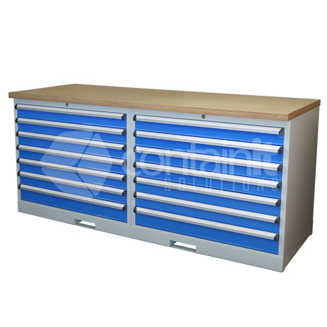 CHD-7DCPT (2 x 7 Drawer Cabinet Workstation with Ply Worktop)