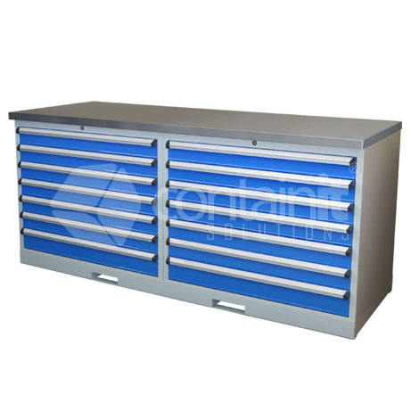 CHD-7DCST (2 x 7 Drawer Cabinet Workstation with Stainless Worktop)
