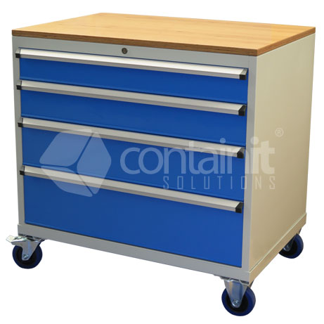 CHD-980-4CP (Storeman 4 Drawer Tool & Parts Trolley with Ply Top)