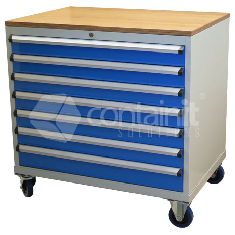 CHD-980-7CP (Storeman 7 Drawer Tool & Parts Trolley with Ply Top)