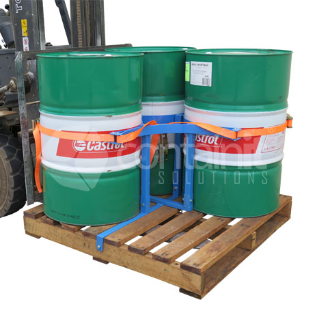 Drum Secure Pallet System being moved by forklift (with 3 x 205L Drums)