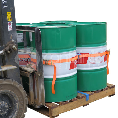 Drum Secure Pallet System being moved by forklift (with 4 x 205L Drums)