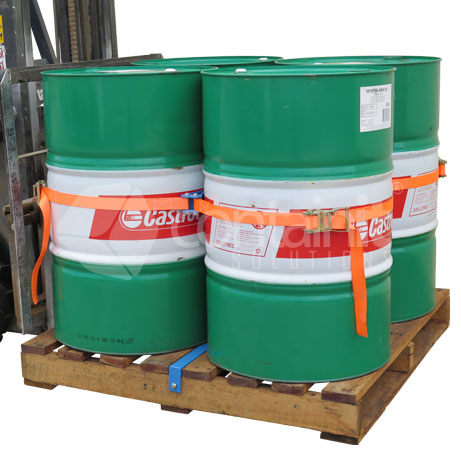 Drum Secure Pallet System being moved by forklift (with 4 x 205L Drums)2...