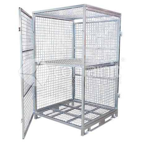 2000 Multi-Purpose Pallet Cage with middle shelf
