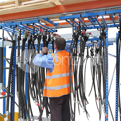 Hose Storage Kit with Track System for Pallet Racking