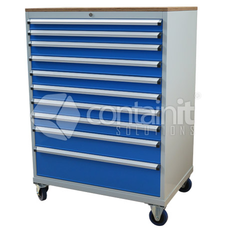 10 Drawer Cabinet with Castors & Ply Top CHD-1390-10CP