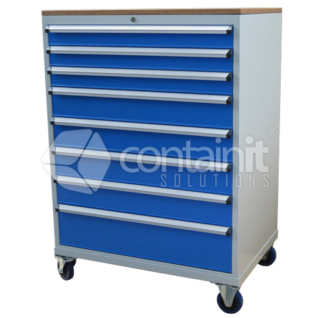 8 Drawer Cabinet with Castors & Ply Top CHD-1390-8CP