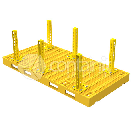 Double Pallet with Bolt Down Post - Yellow