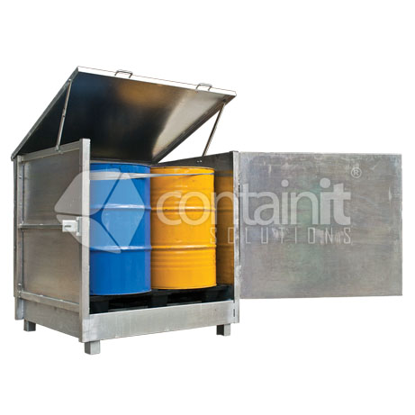 Enclosed 4 Drum Store with Hinged Lid