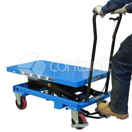 CMLT-5M 500kg capacity manual lift trolley in use