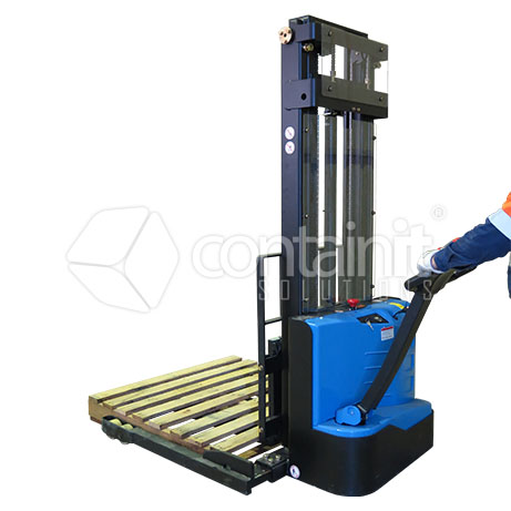 Premium Adjustable Electric Pallet Stacker in use