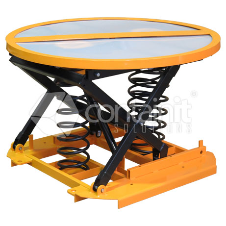 Spring Lift Pallet Positioners with Turntable 1
