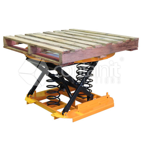 Spring Lift Pallet Positioners with Turntable and pallet 1