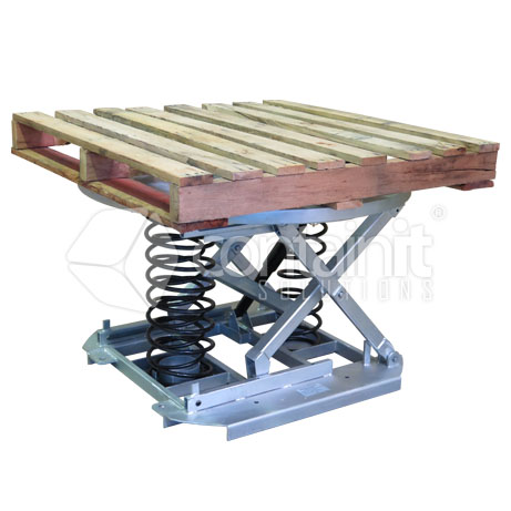 Spring Lift Pallet Positioners with Turntable and pallet 2