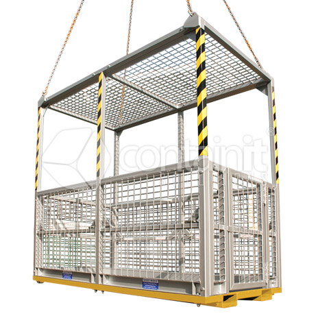 6 person, personnel lifting cage with roof