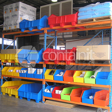 Warehouse Picking Bins and Pallets for Pallet Racking in use